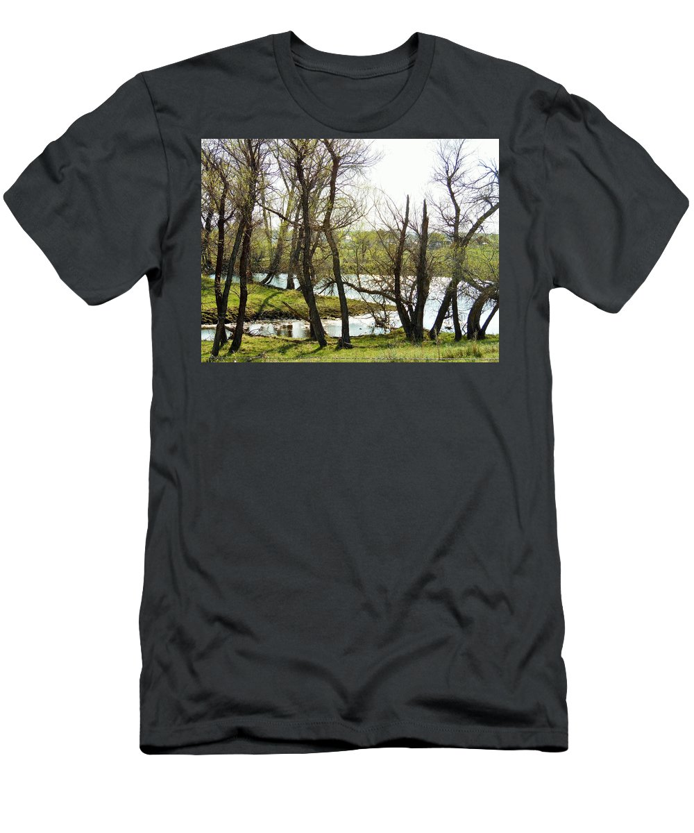 Water Men's T-Shirt (Athletic Fit) featuring the photograph Resevoir In The Calf Pasture by Pamela Pursel