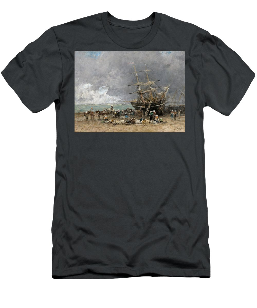 Artist Men's T-Shirt (Athletic Fit) featuring the painting Return Of The Terre-neuvier by Eugene Boudin