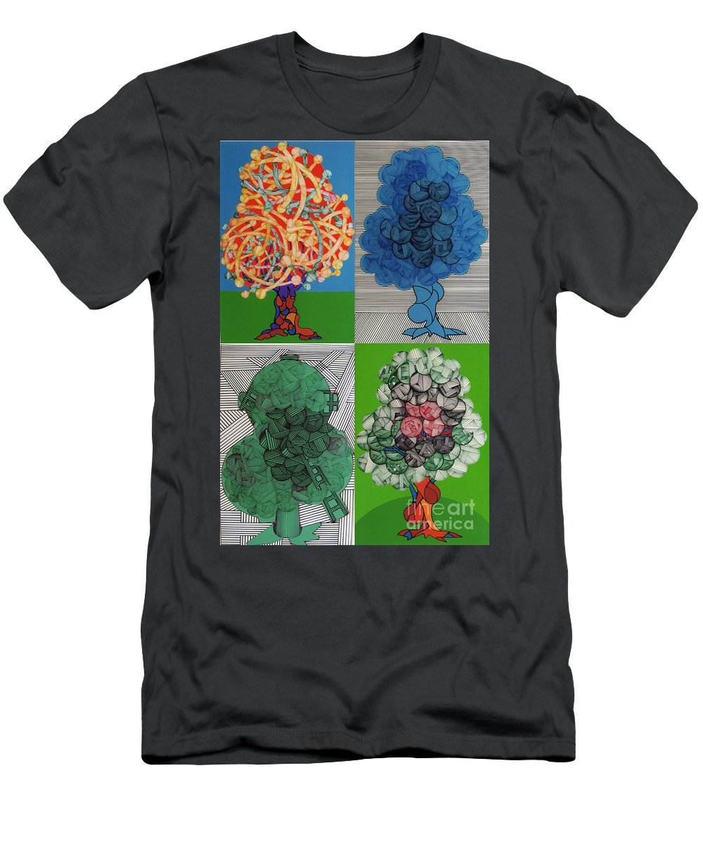 Apple Orchard Men's T-Shirt (Athletic Fit) featuring the drawing Rfb0502-0505 by Robert F Battles