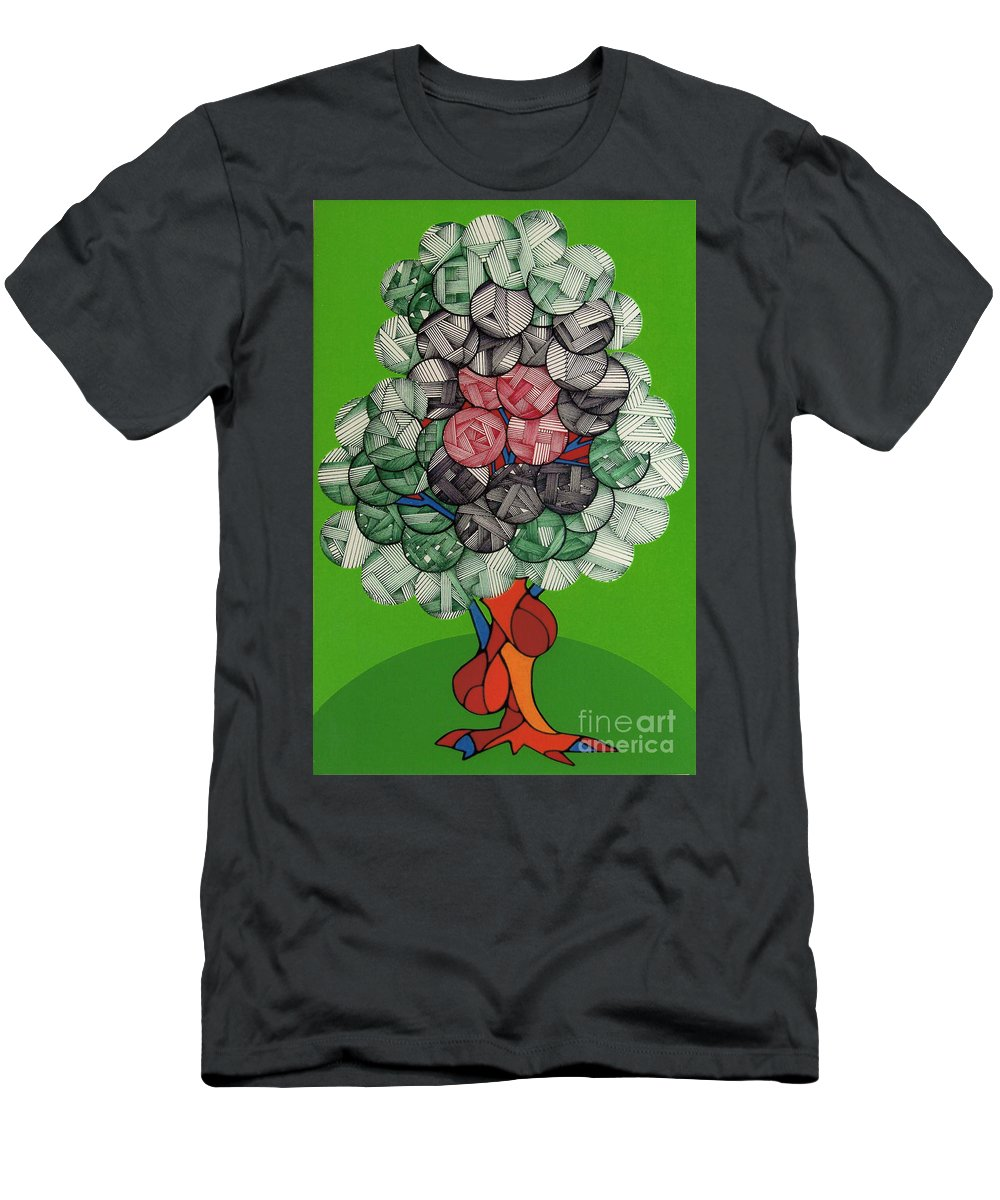 Apple Tree Men's T-Shirt (Athletic Fit) featuring the drawing Rfb0503 by Robert F Battles