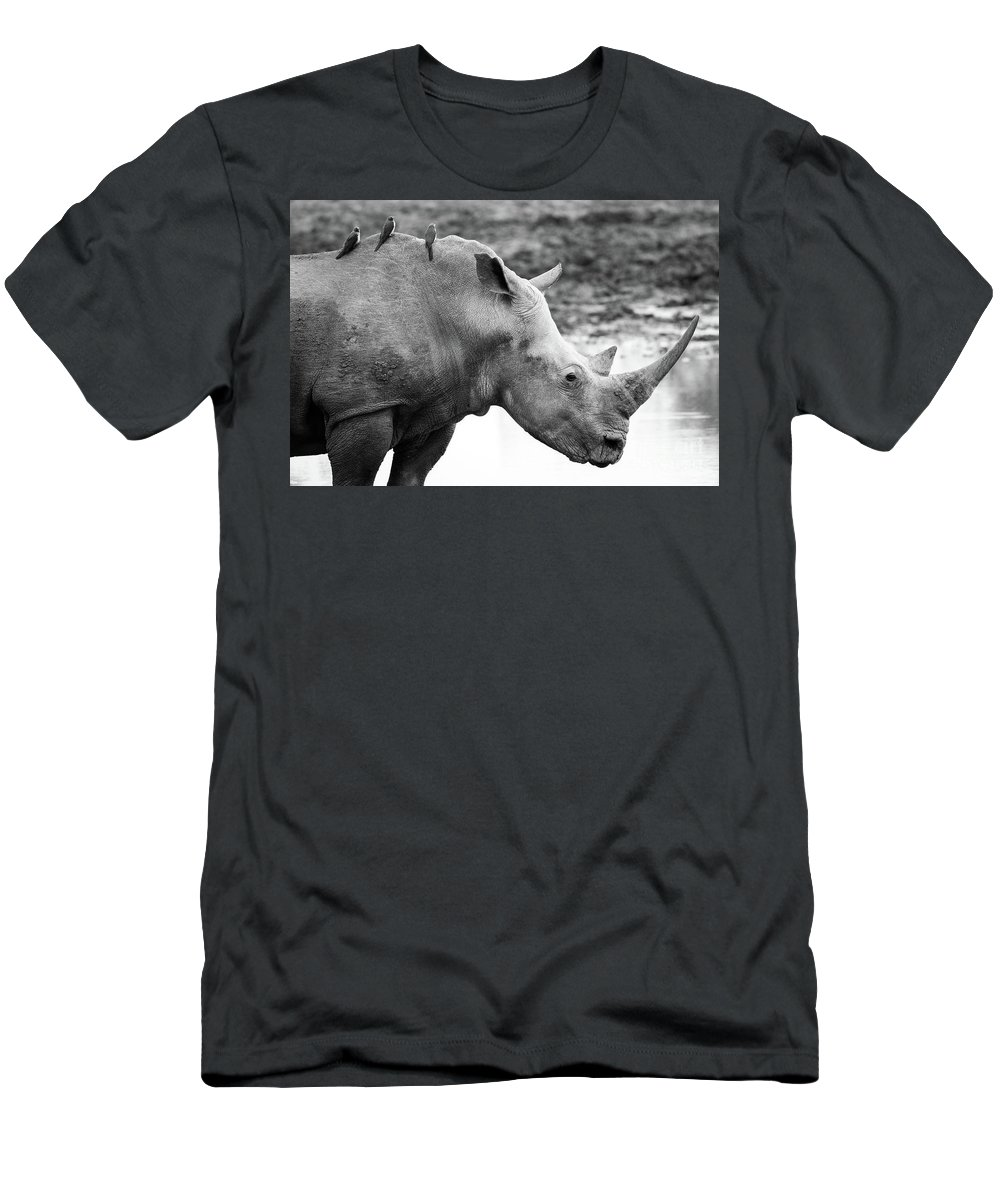 Rhino Men's T-Shirt (Athletic Fit) featuring the photograph Rhino With Passengers by Tom Broadhurst