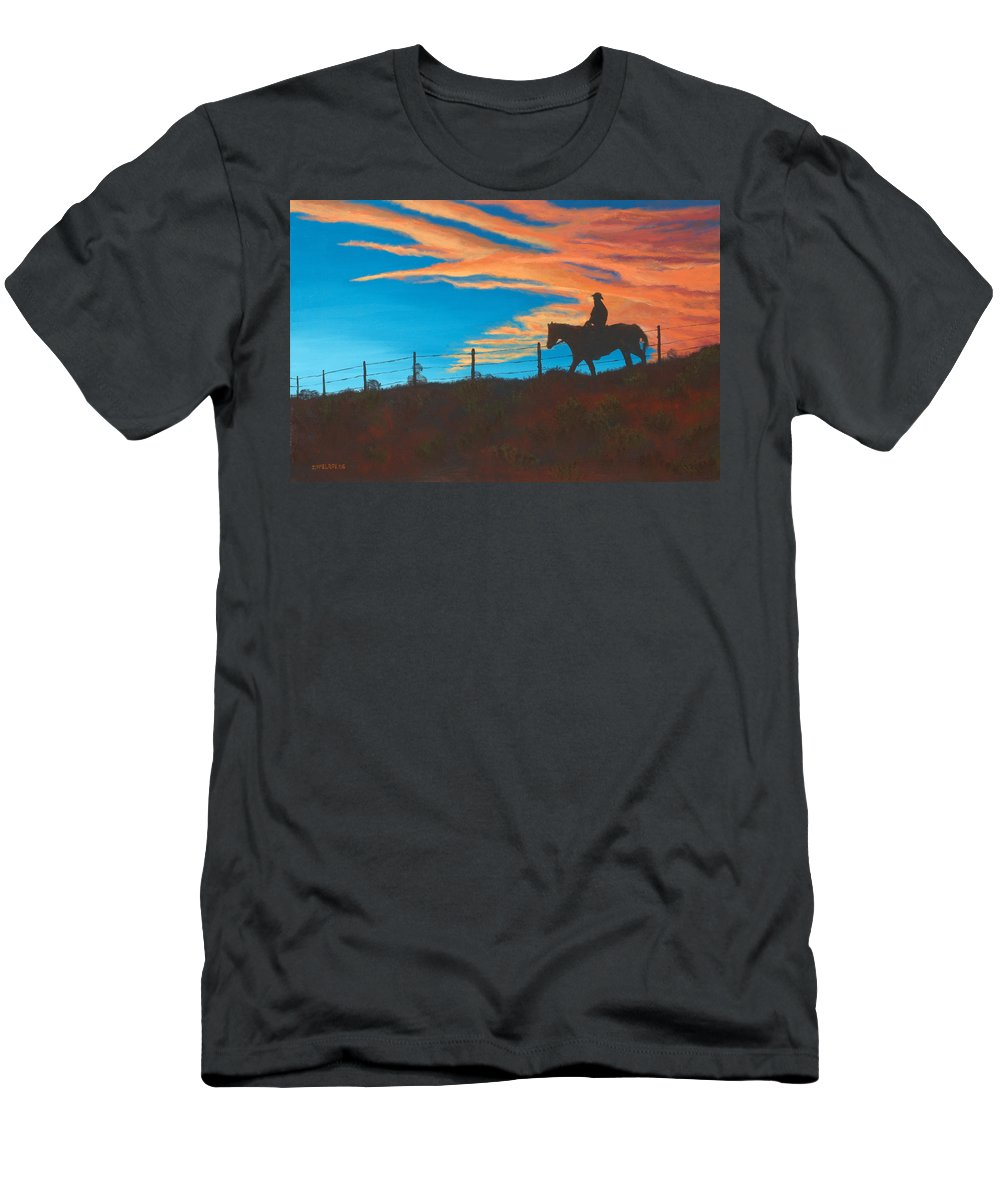 Cowboy Men's T-Shirt (Athletic Fit) featuring the painting Riding Fence by Jerry McElroy