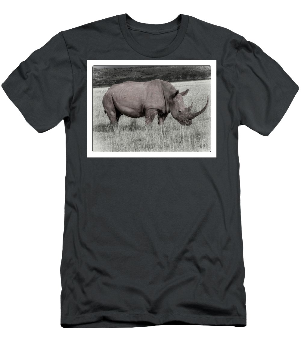 Men's T-Shirt (Athletic Fit) featuring the photograph Rino 1f, Kenya, 16 by Richard Xuereb