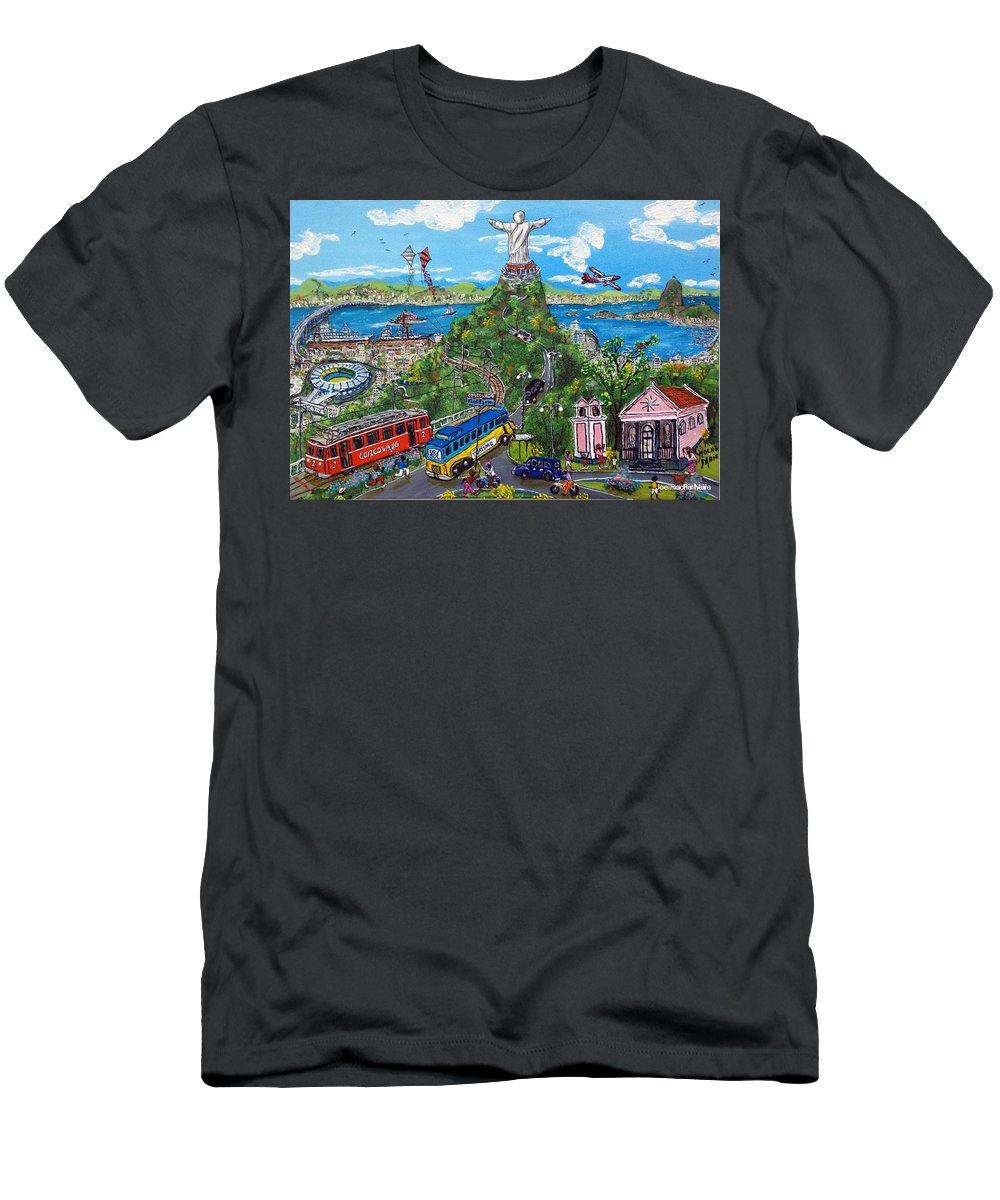 Landscape Men's T-Shirt (Athletic Fit) featuring the painting Rio De Fe, Futebol E Fantasia by Luiz Roberto Rocha Maia