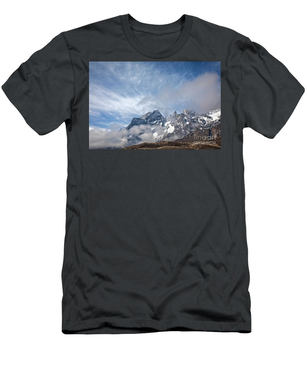 Khumbu Yul Lha Men's T-Shirt (Athletic Fit) featuring the photograph Rising Mountains by Scott Kemper