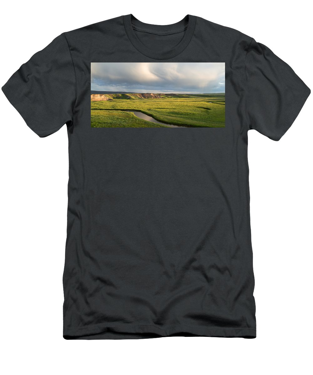 Clouds Men's T-Shirt (Athletic Fit) featuring the photograph River Below The Clouds by Linda Kerkau