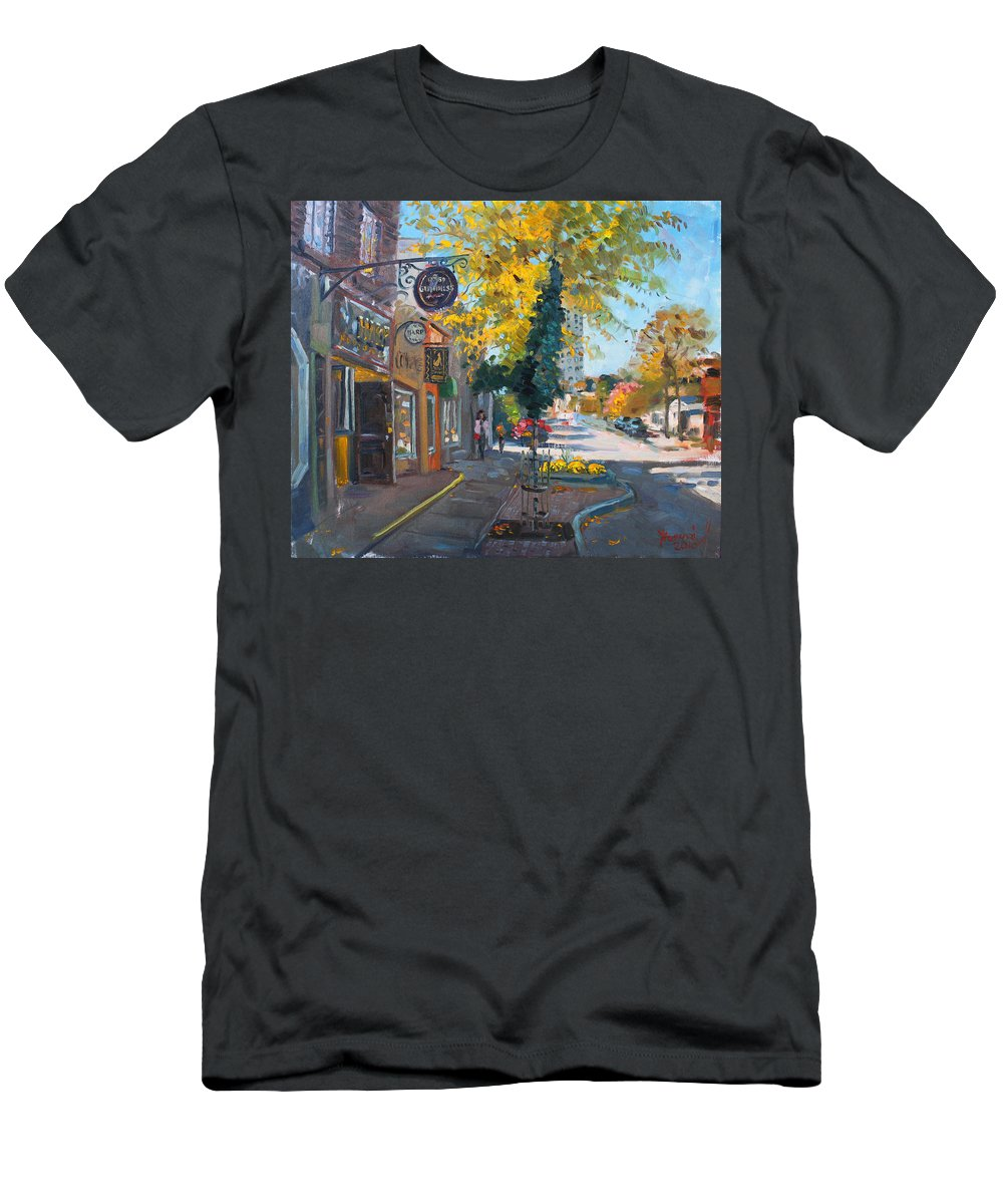 River Coyote Gallery Men's T-Shirt (Athletic Fit) featuring the painting River Coyote Gallery Mississauga by Ylli Haruni