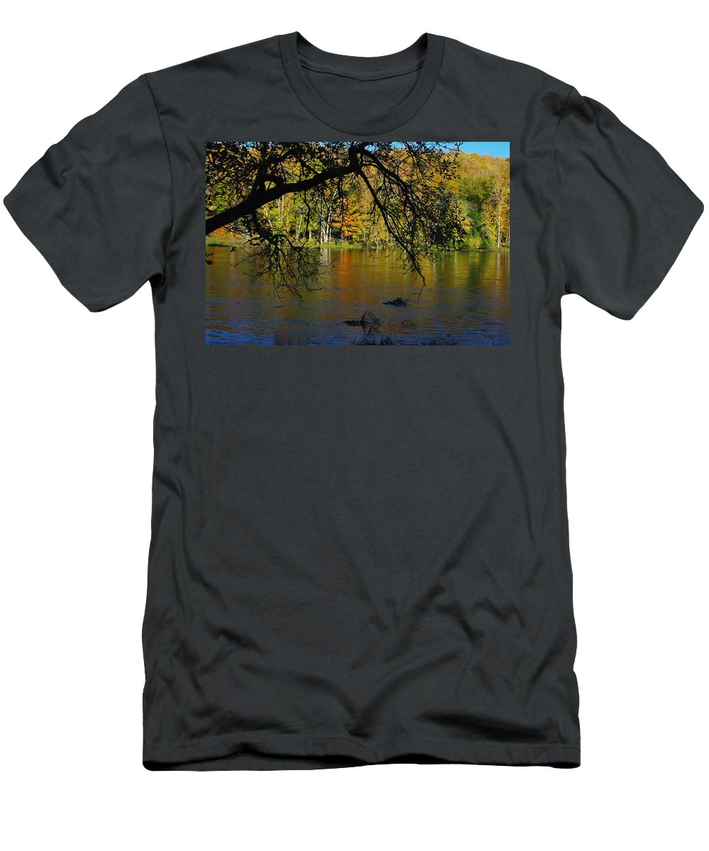 Fall Men's T-Shirt (Athletic Fit) featuring the photograph River In The Fall by Alice Markham