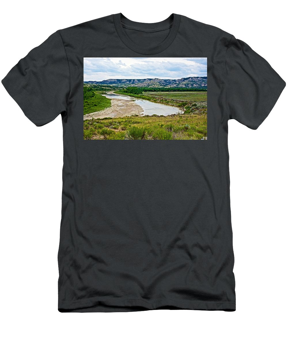 River Landscape In Northwest North Dakota Men's T-Shirt (Athletic Fit) featuring the photograph River Landscape In Northwest North Dakota by Ruth Hager