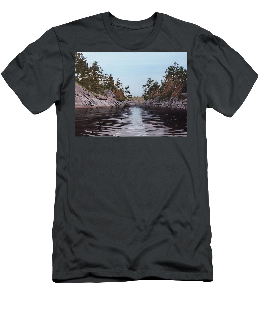 Landscapes Men's T-Shirt (Athletic Fit) featuring the painting River Narrows by Kenneth M Kirsch