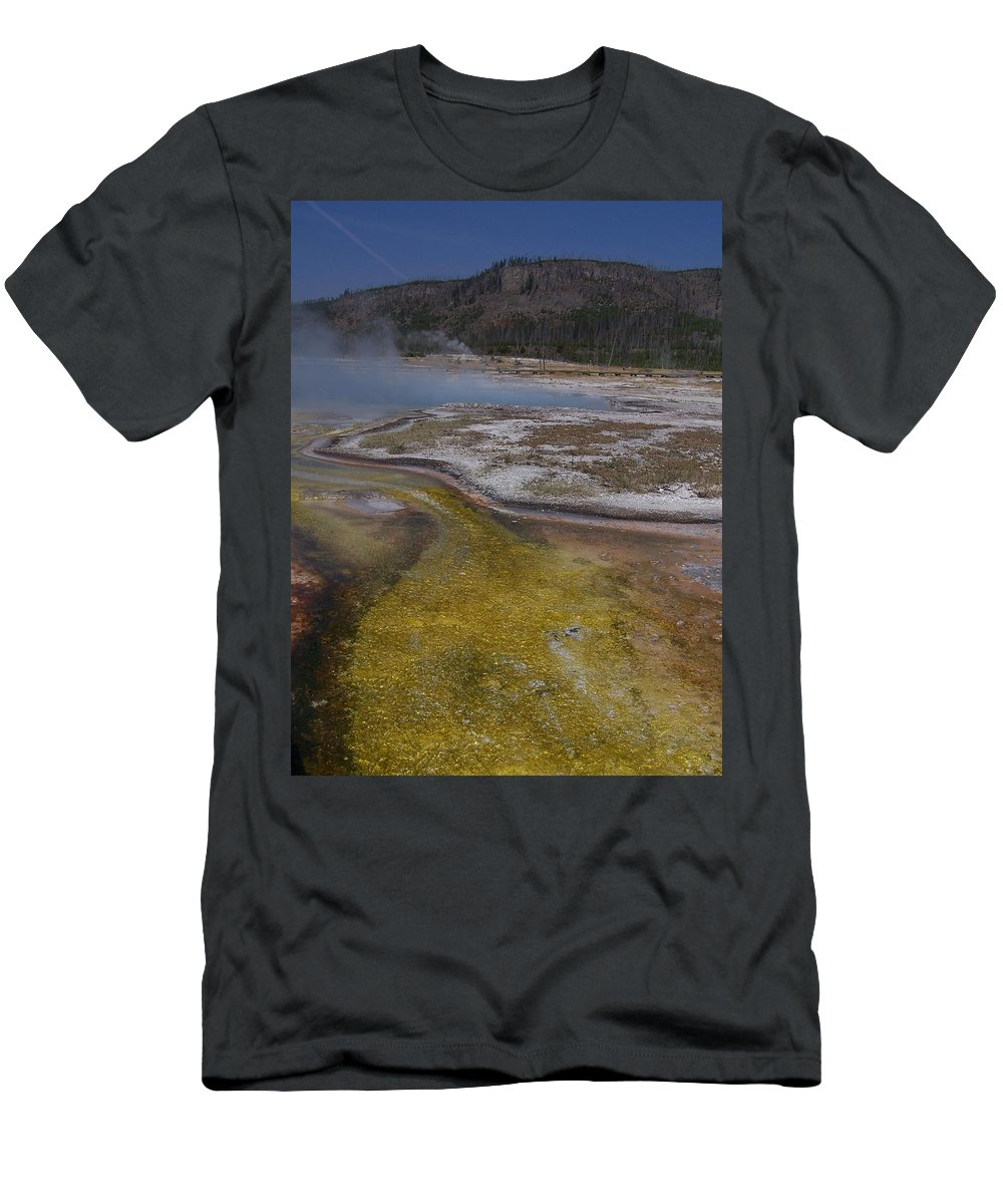 Geyser Men's T-Shirt (Athletic Fit) featuring the photograph River Of Gold by Gale Cochran-Smith