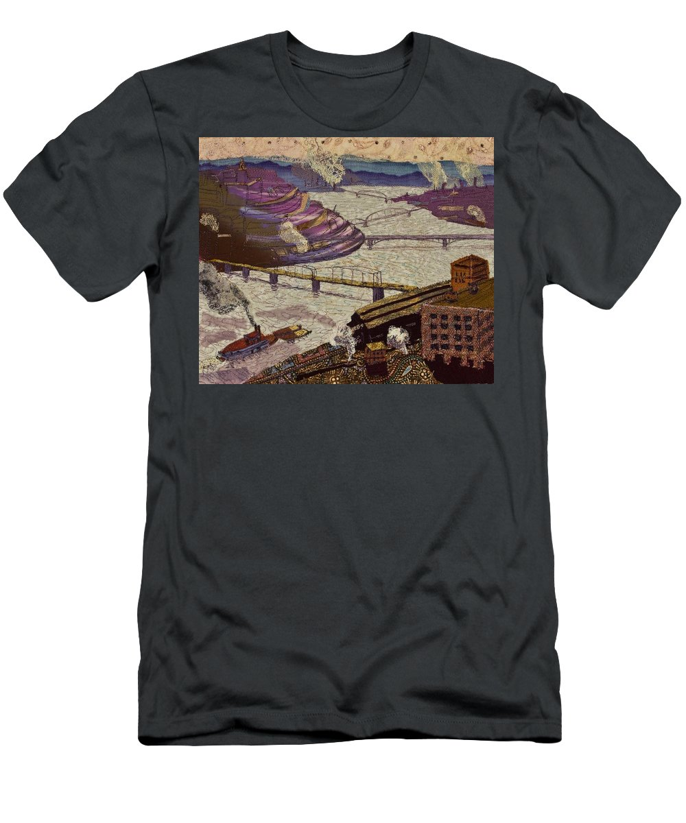 Pittsburgh Men's T-Shirt (Athletic Fit) featuring the tapestry - textile River Of Industry by Martha Ressler