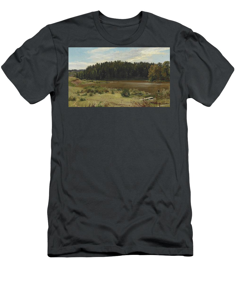 Ivan Shishkin Men's T-Shirt (Athletic Fit) featuring the painting River On The Edge Of A Wood by Ivan Shishkin