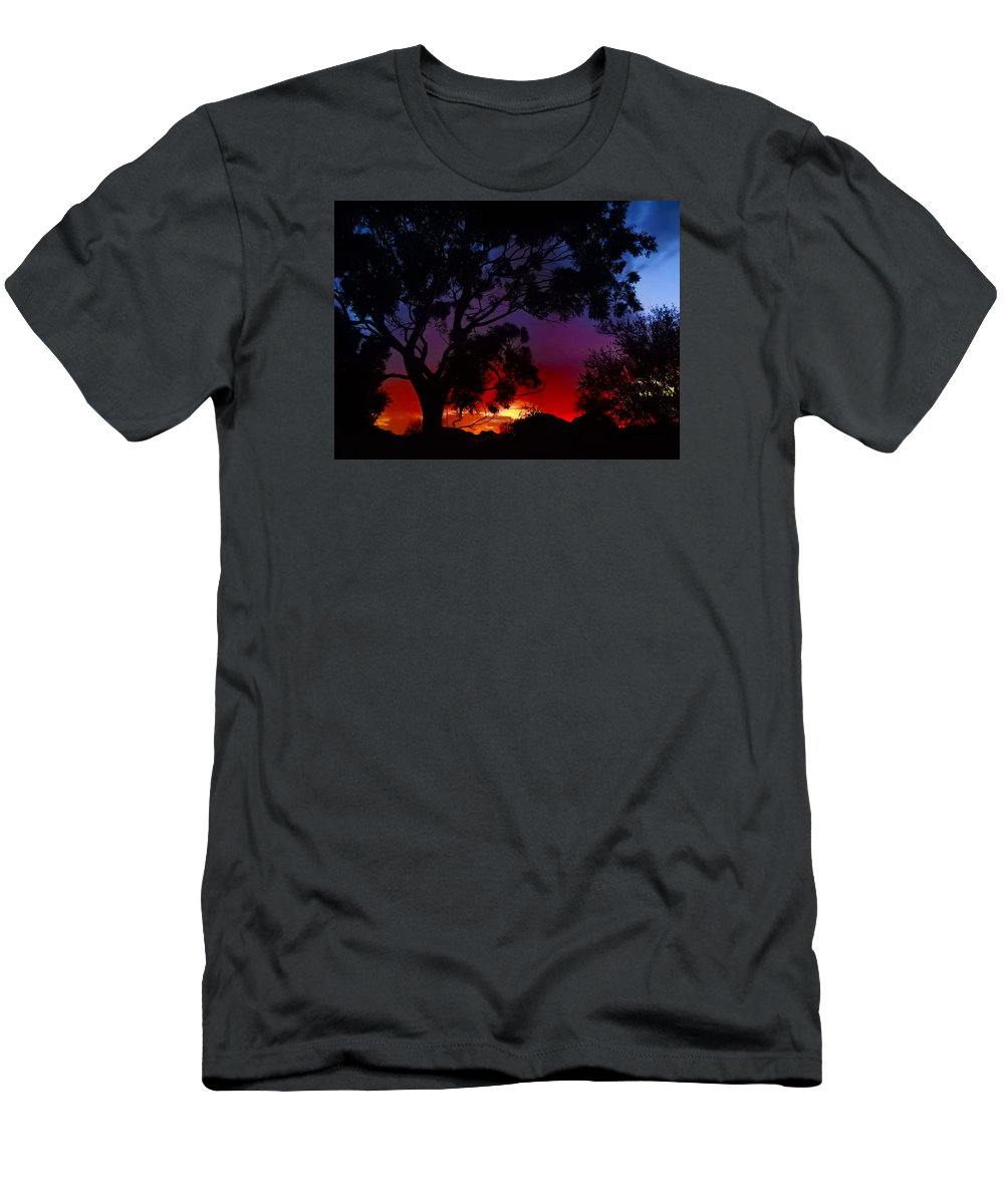 Sunrise Men's T-Shirt (Athletic Fit) featuring the photograph River Sunrise by Mark Blauhoefer