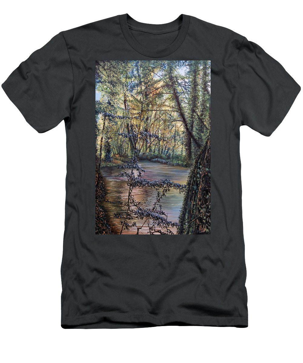 Skies Men's T-Shirt (Athletic Fit) featuring the painting Riverside by Michel Angelo Rossi