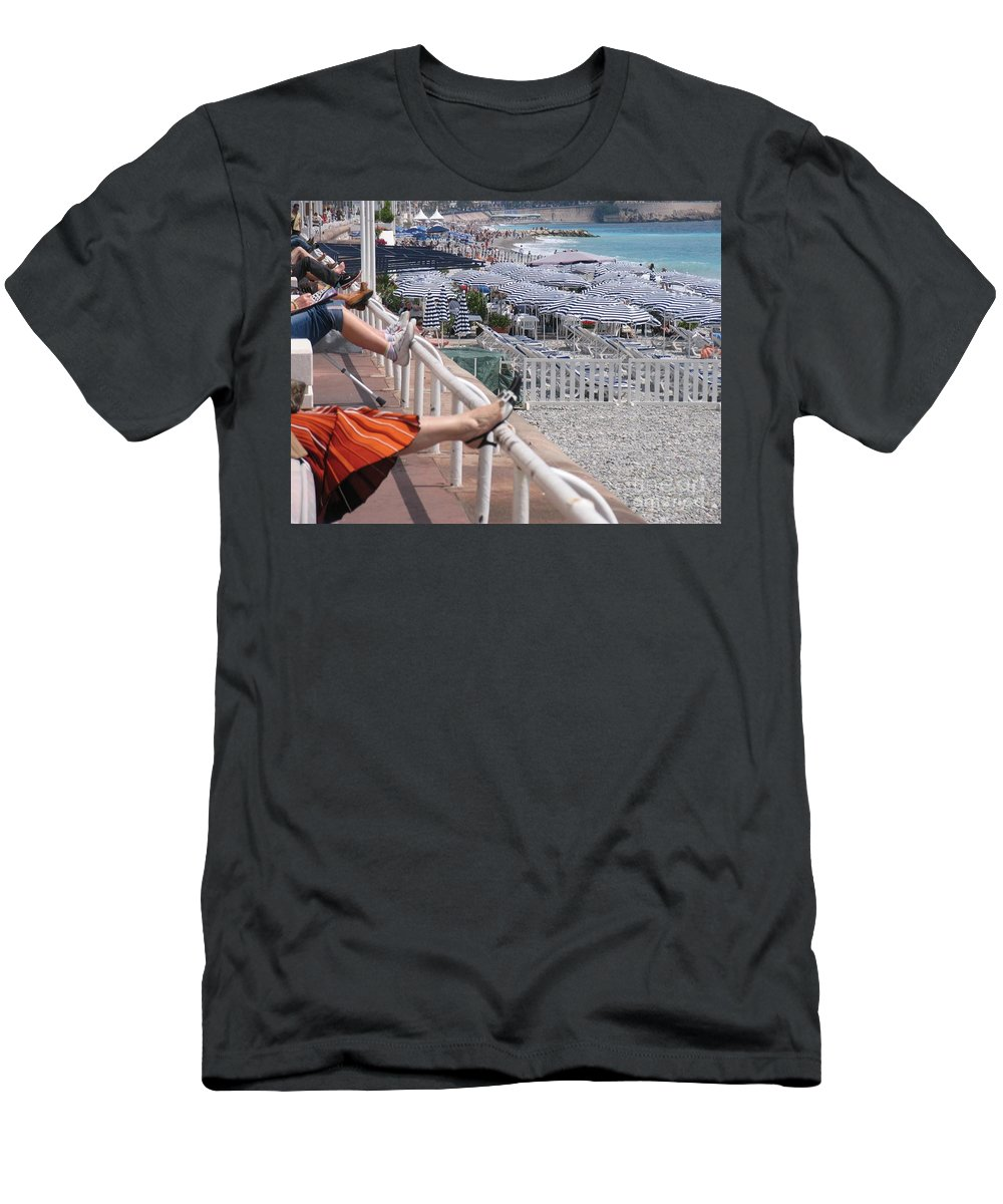 Nice France Beach Riviera Men's T-Shirt (Athletic Fit) featuring the photograph Riviera Breeze by Suzanne Oesterling
