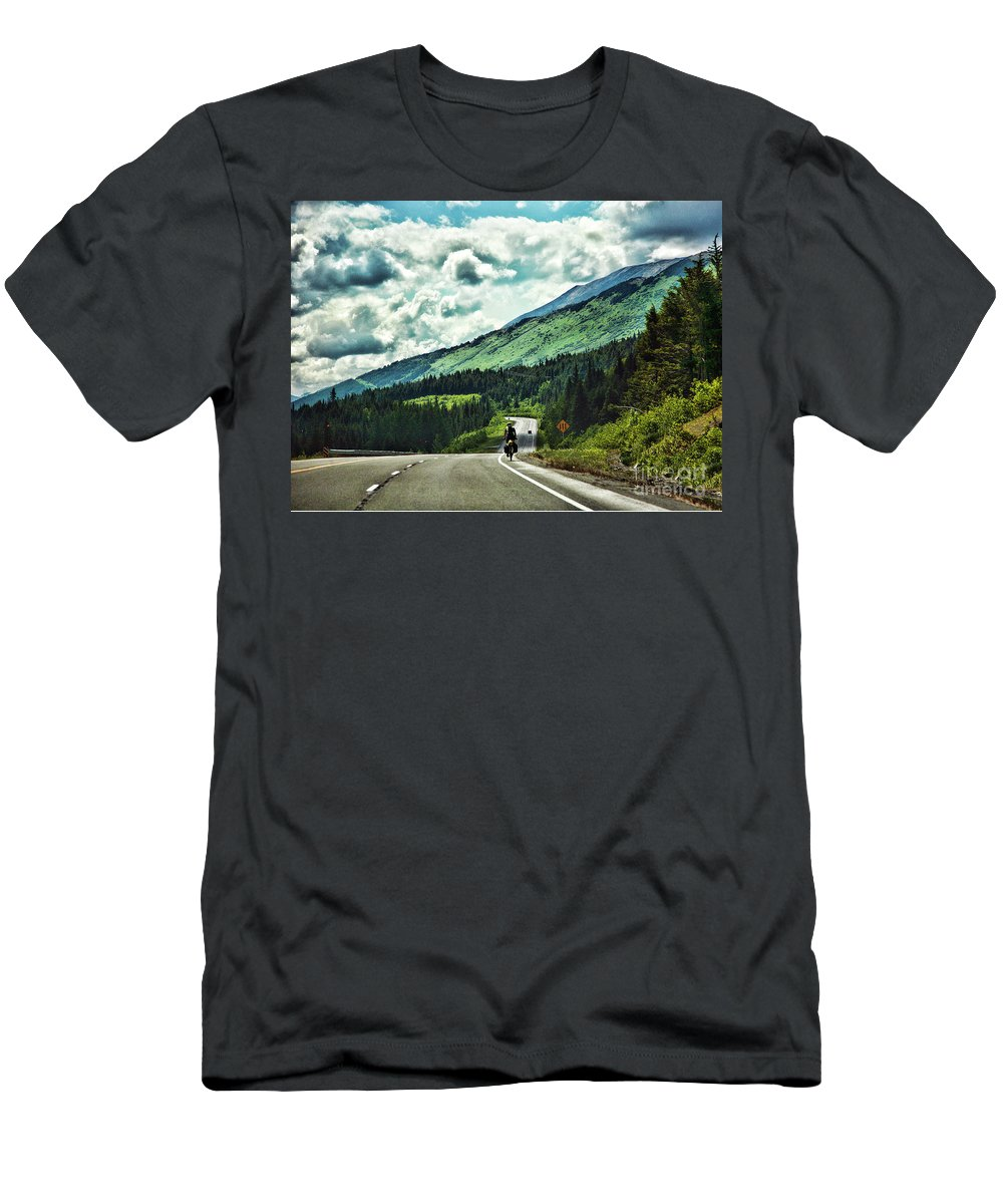 Alaska Men's T-Shirt (Athletic Fit) featuring the photograph Road Alaska Bicycle by Chuck Kuhn