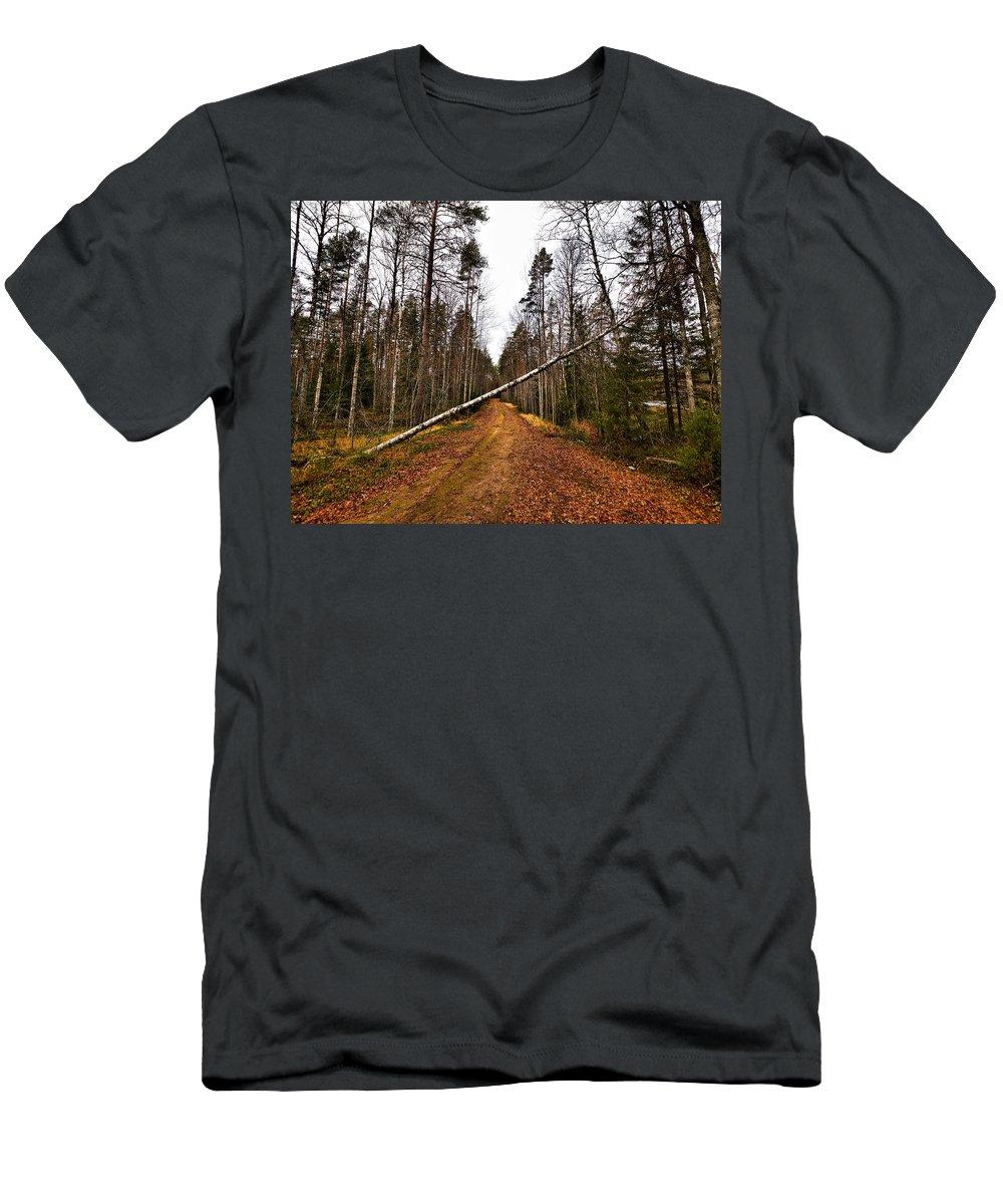 Lehtokukka Men's T-Shirt (Athletic Fit) featuring the photograph Road Closed by Jouko Lehto