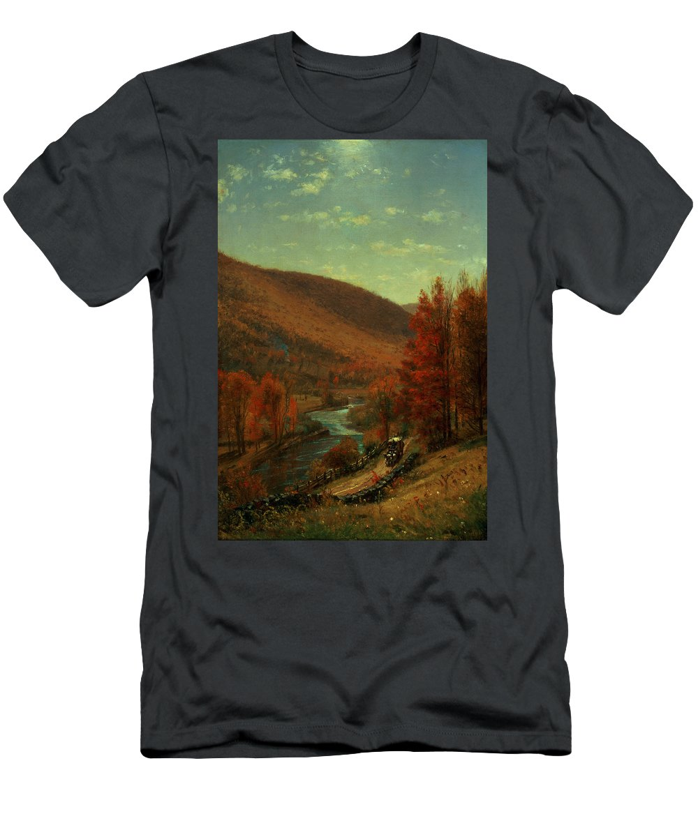 Thomas Worthington Men's T-Shirt (Athletic Fit) featuring the painting Road Through Belvedere by Thomas Worthington