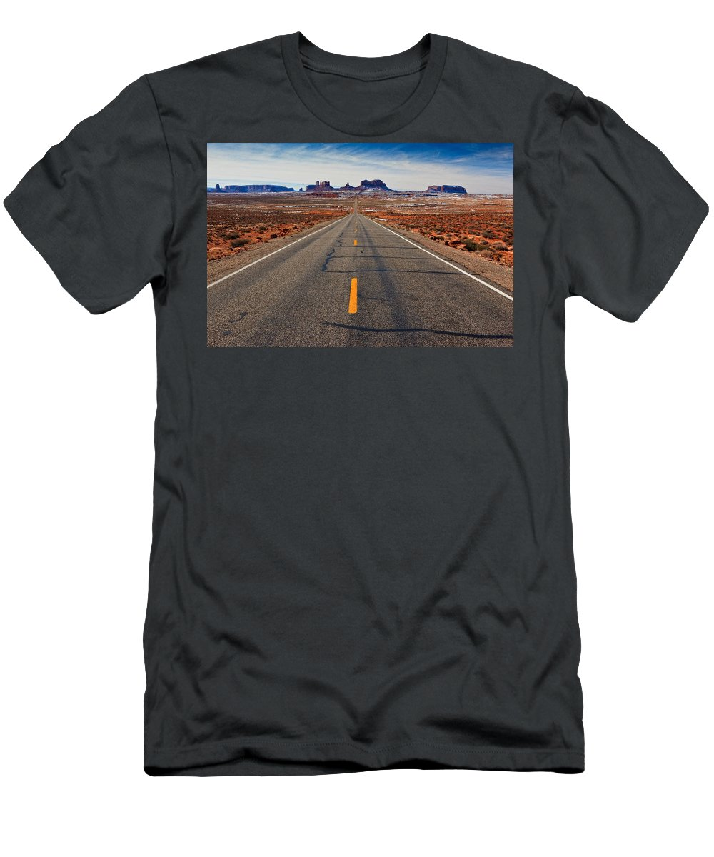 Road Men's T-Shirt (Athletic Fit) featuring the photograph Road To Monument Valley by Matt Suess