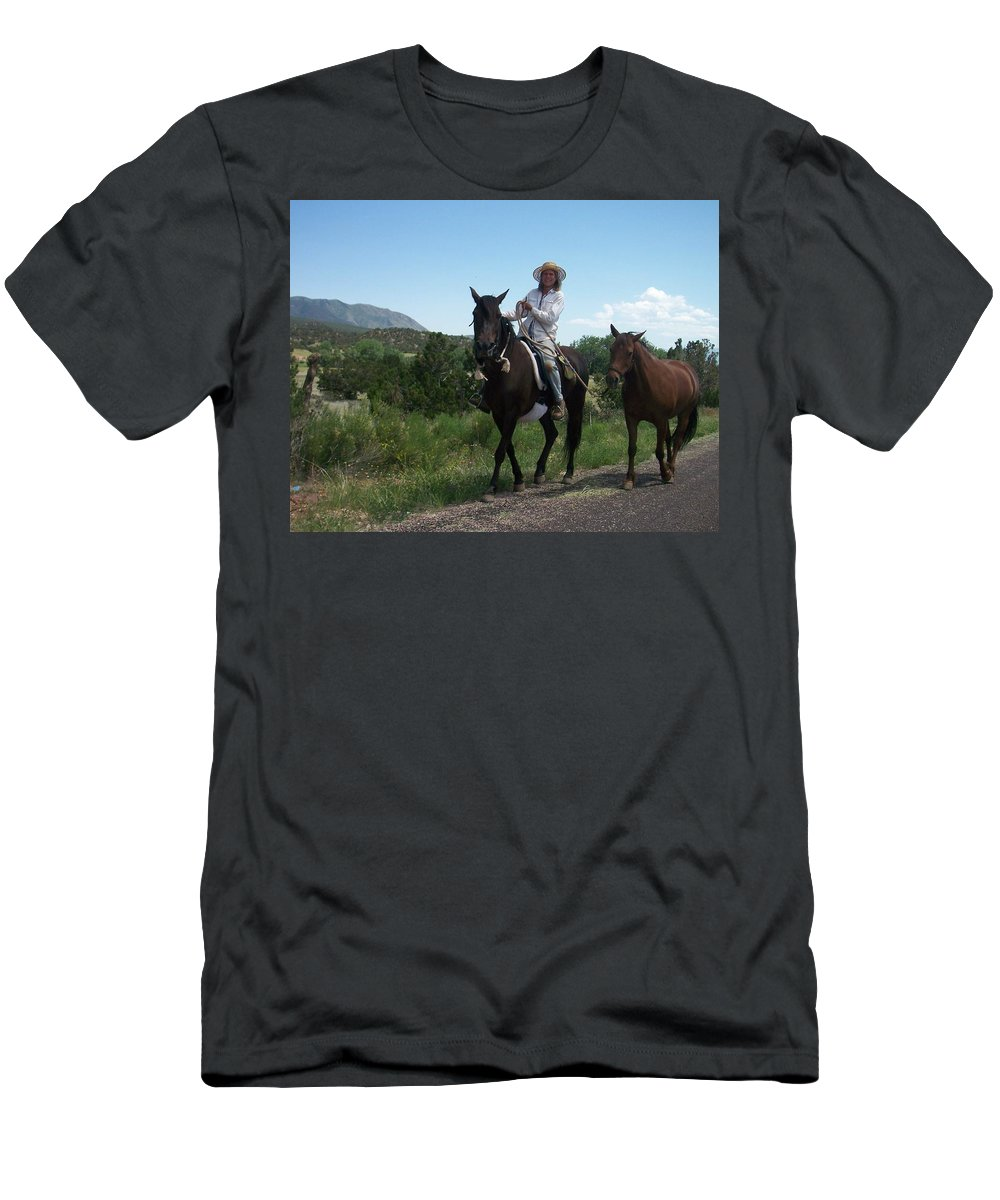 Horses Men's T-Shirt (Athletic Fit) featuring the photograph Roadside Horses by Anita Burgermeister