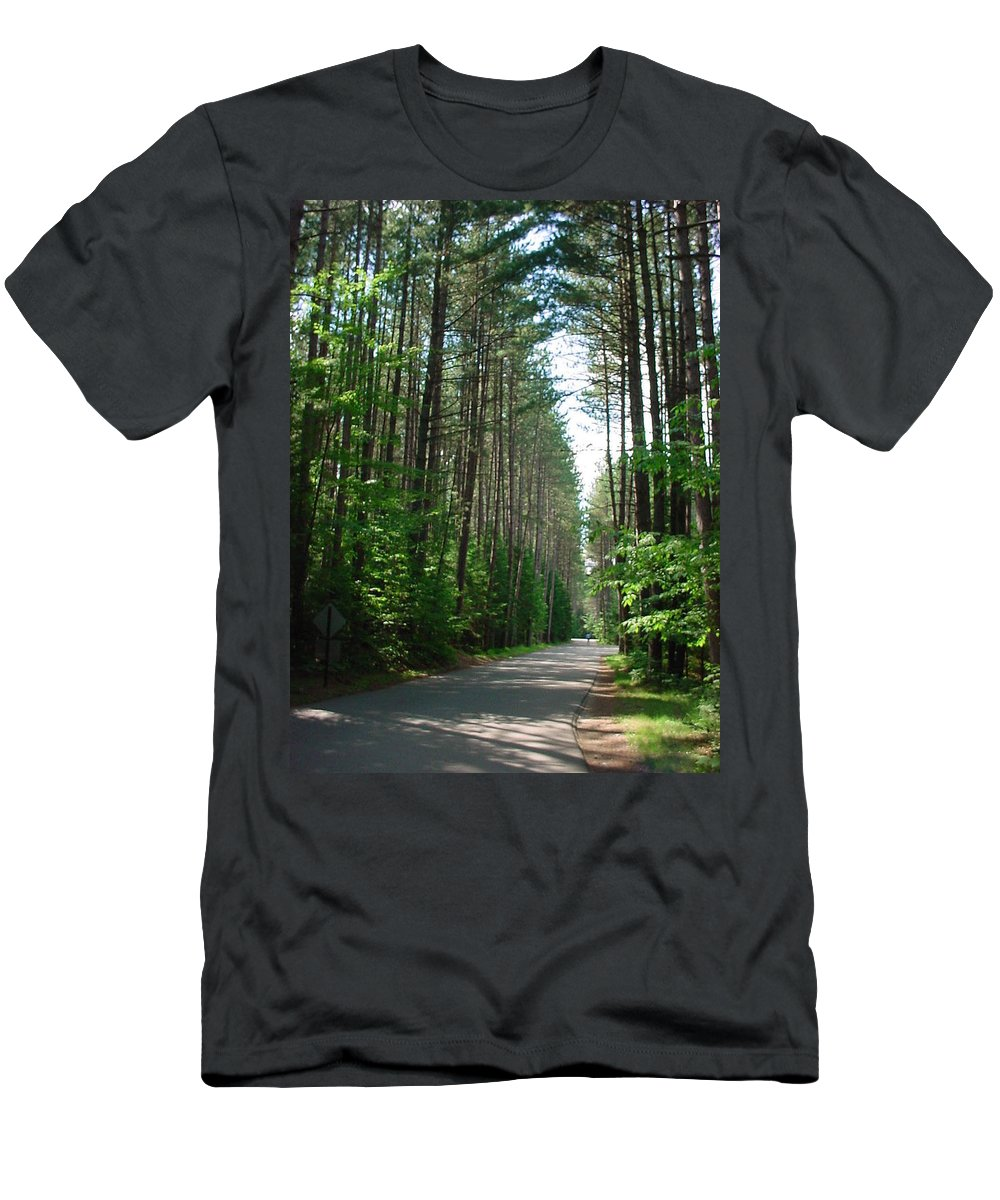 Fish Creek Men's T-Shirt (Athletic Fit) featuring the photograph Roadway At Fish Creek by Jerrold Carton