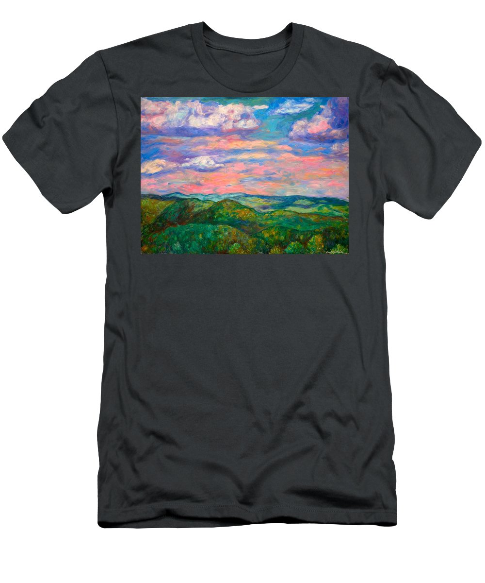 Landscape Paintings Men's T-Shirt (Athletic Fit) featuring the painting Rock Castle Gorge by Kendall Kessler