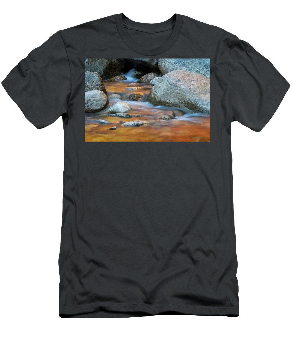 Fall Reflection Men's T-Shirt (Athletic Fit) featuring the photograph Rock Cave Reflection Nh by Michael Hubley