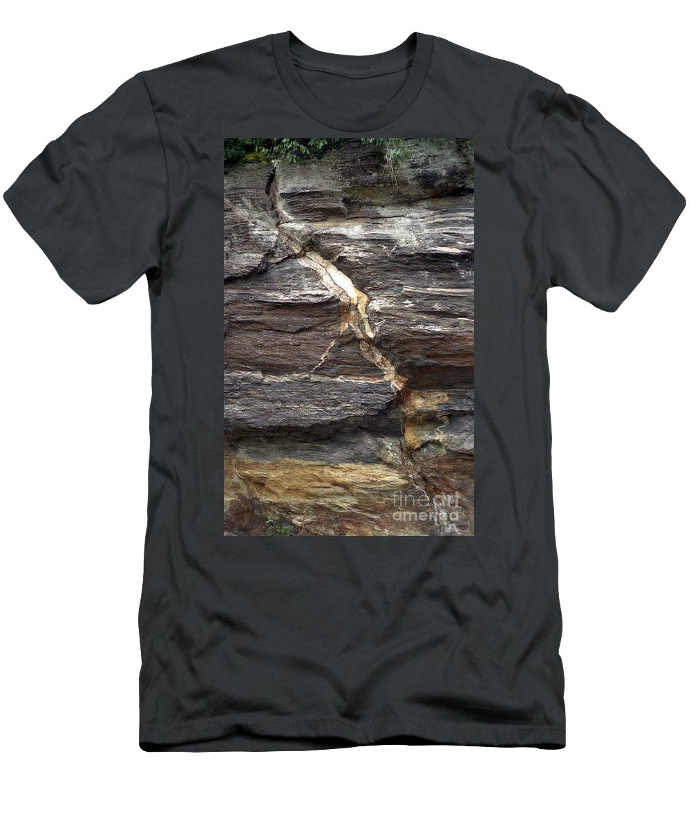 Rock Face Men's T-Shirt (Athletic Fit) featuring the photograph Rock Face by Richard Rizzo