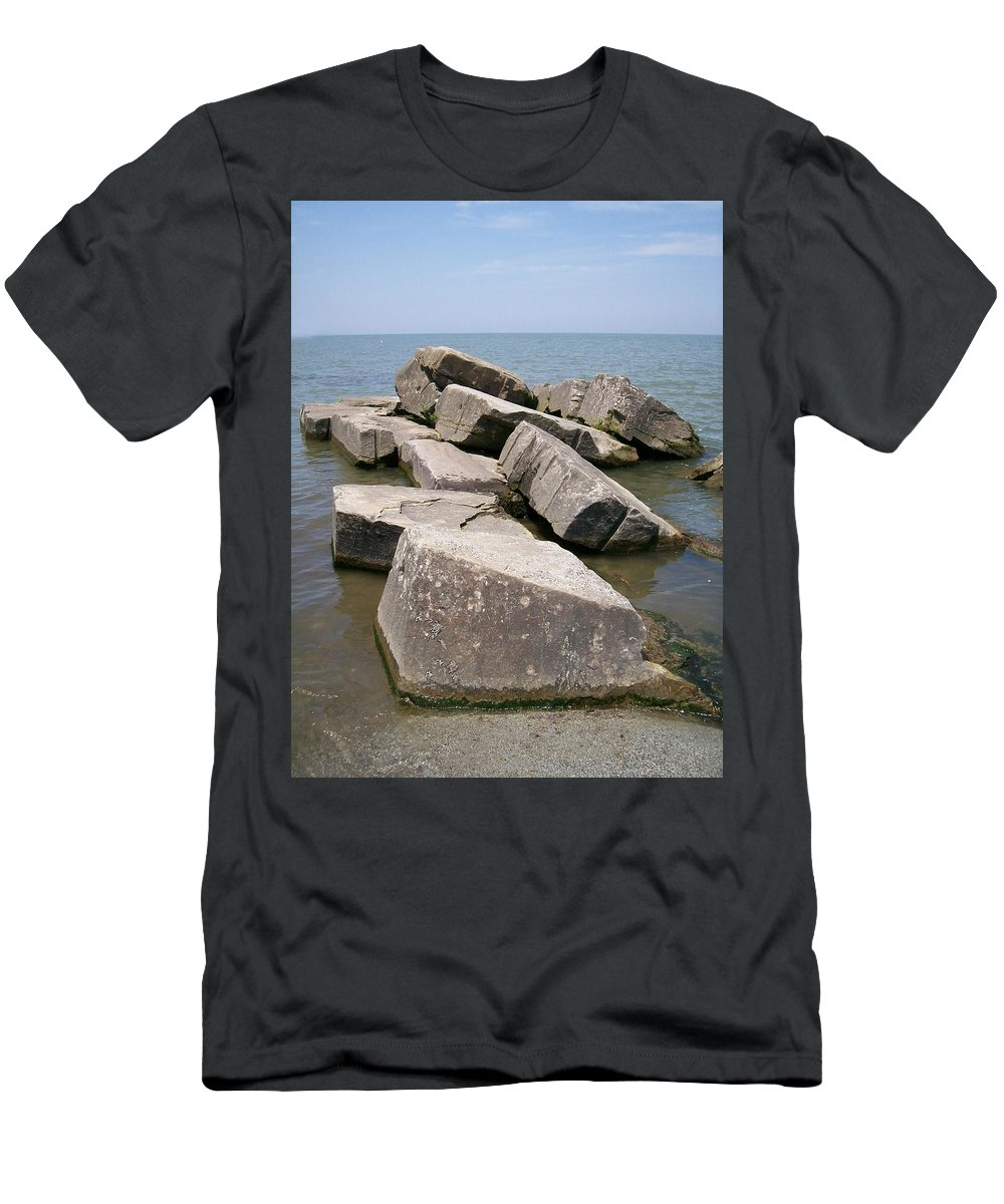 Rocks Men's T-Shirt (Athletic Fit) featuring the photograph Rock Fortress by Sara Raber