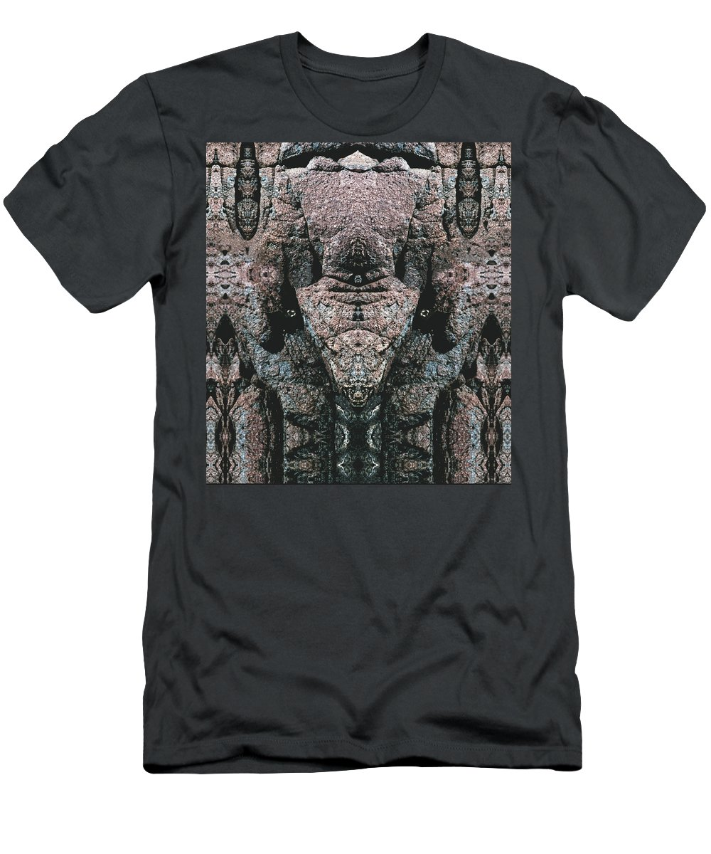 Rocks Men's T-Shirt (Athletic Fit) featuring the digital art Rock Gods Elephant Stonemen Of Ogunquit by Nancy Griswold