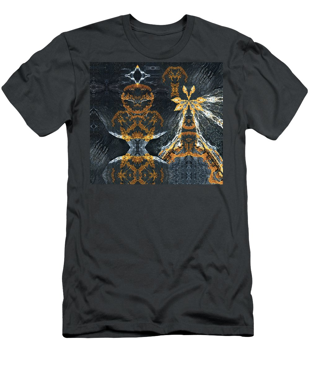 Rocks Men's T-Shirt (Athletic Fit) featuring the digital art Rock Gods Lichen Lady And Lords by Nancy Griswold