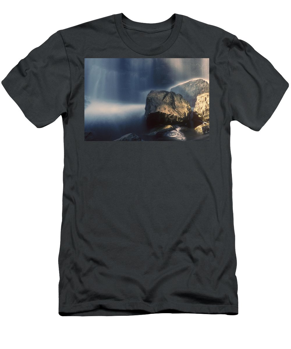 Rocks Men's T-Shirt (Athletic Fit) featuring the photograph Rocks And Waterfalls by D'Arcy Evans