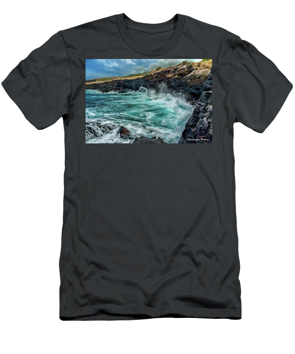 Hawaii Men's T-Shirt (Athletic Fit) featuring the photograph Rocky Coast by Christopher Holmes