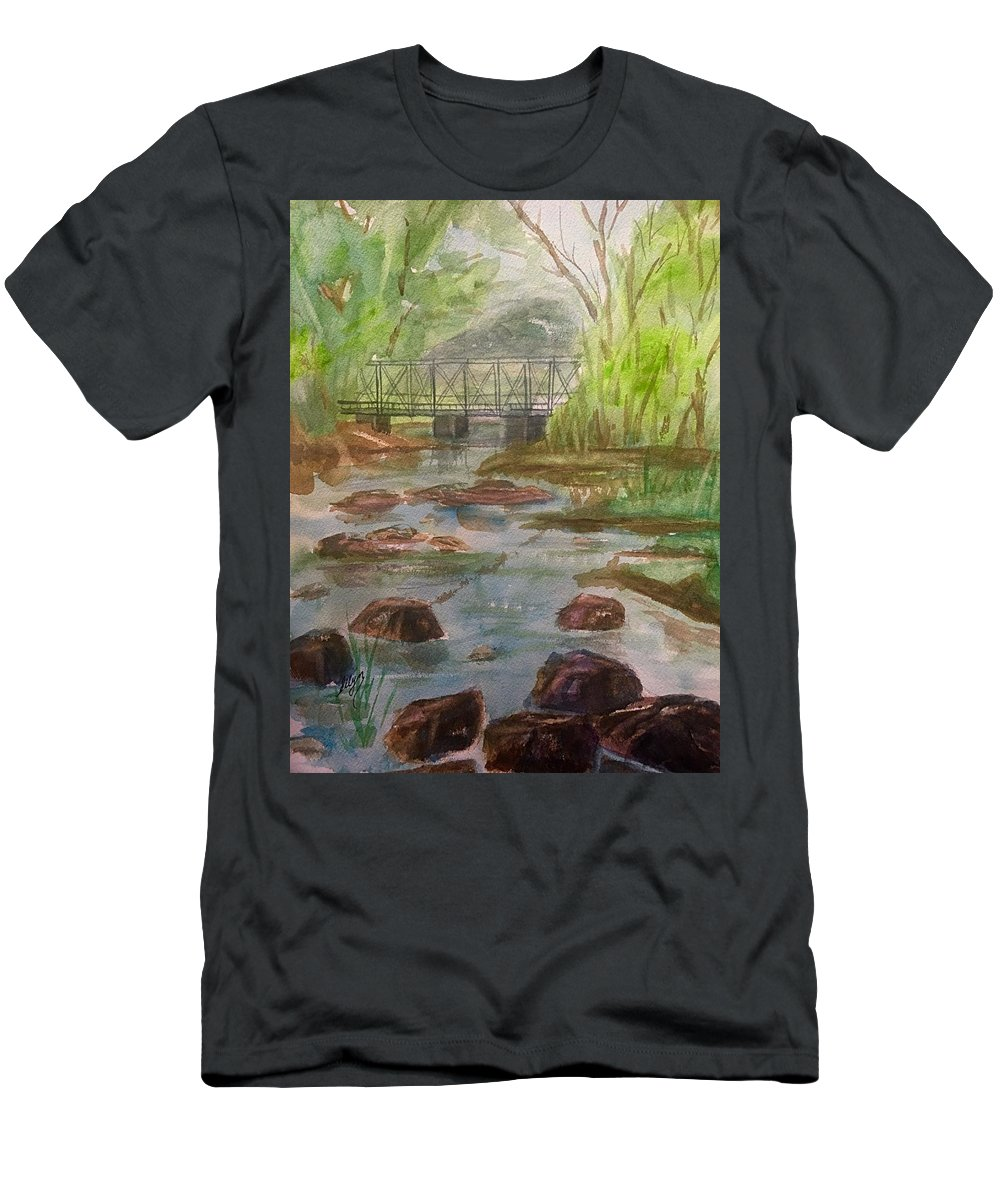 Catskill Creek Men's T-Shirt (Athletic Fit) featuring the painting Rocky Creek In The Catskills by Ellen Levinson