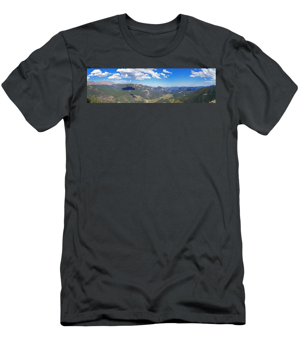 Landscapes Men's T-Shirt (Athletic Fit) featuring the photograph Rocky Mountain National Park Panoramic by Ernie Echols
