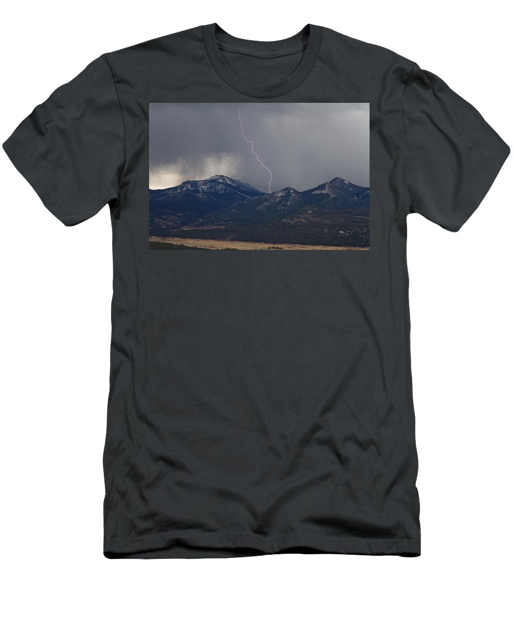 Sky Is The Limit Images Men's T-Shirt (Athletic Fit) featuring the photograph Rocky Mountain Strike by Becca Buecher