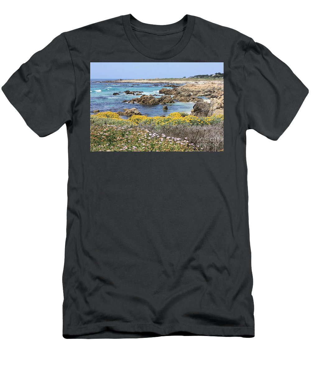 Ocean Men's T-Shirt (Athletic Fit) featuring the photograph Rocky Surf With Wildflowers by Carol Groenen