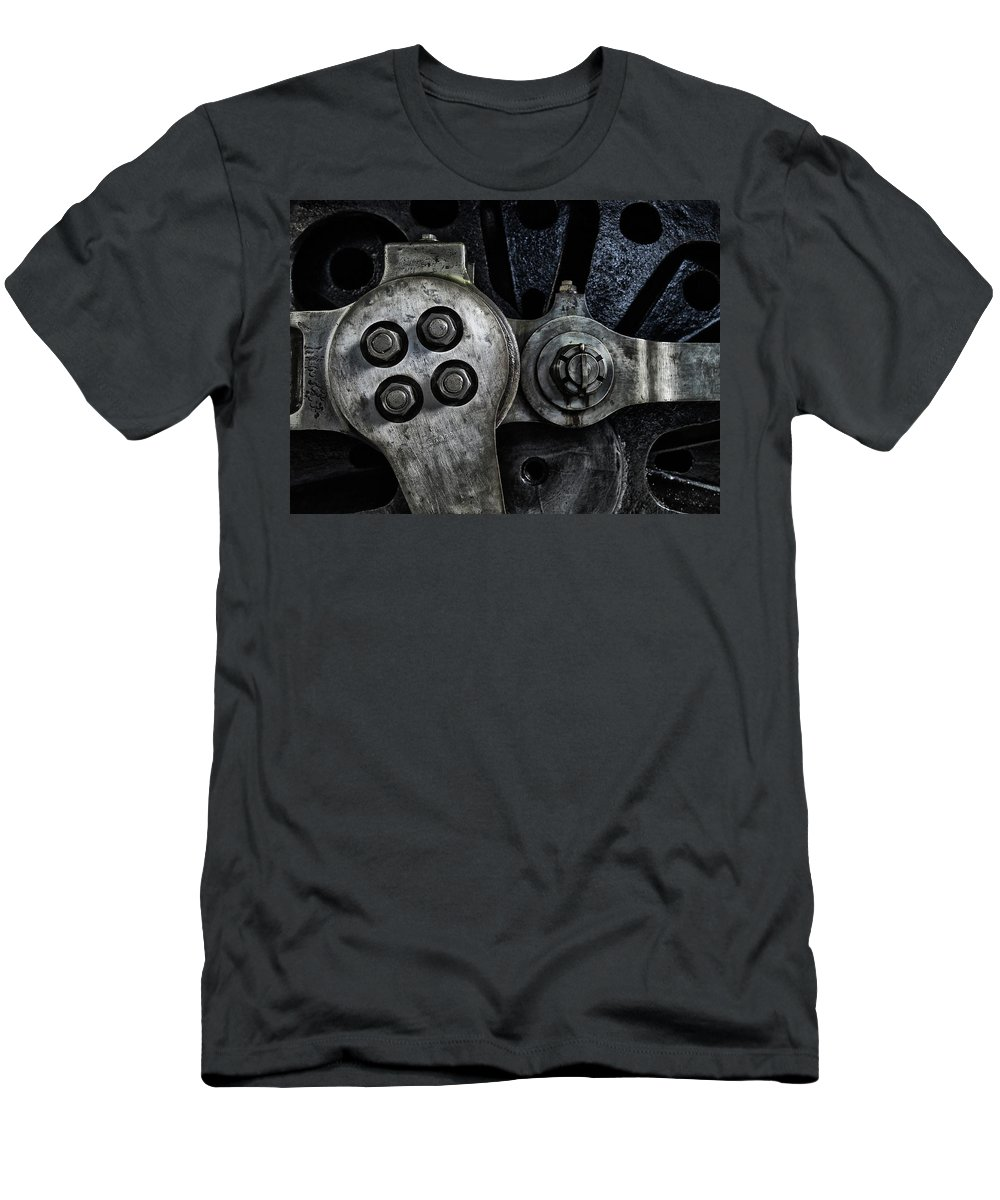 Locomotive Men's T-Shirt (Athletic Fit) featuring the photograph Rods And Bolts by Philip Openshaw