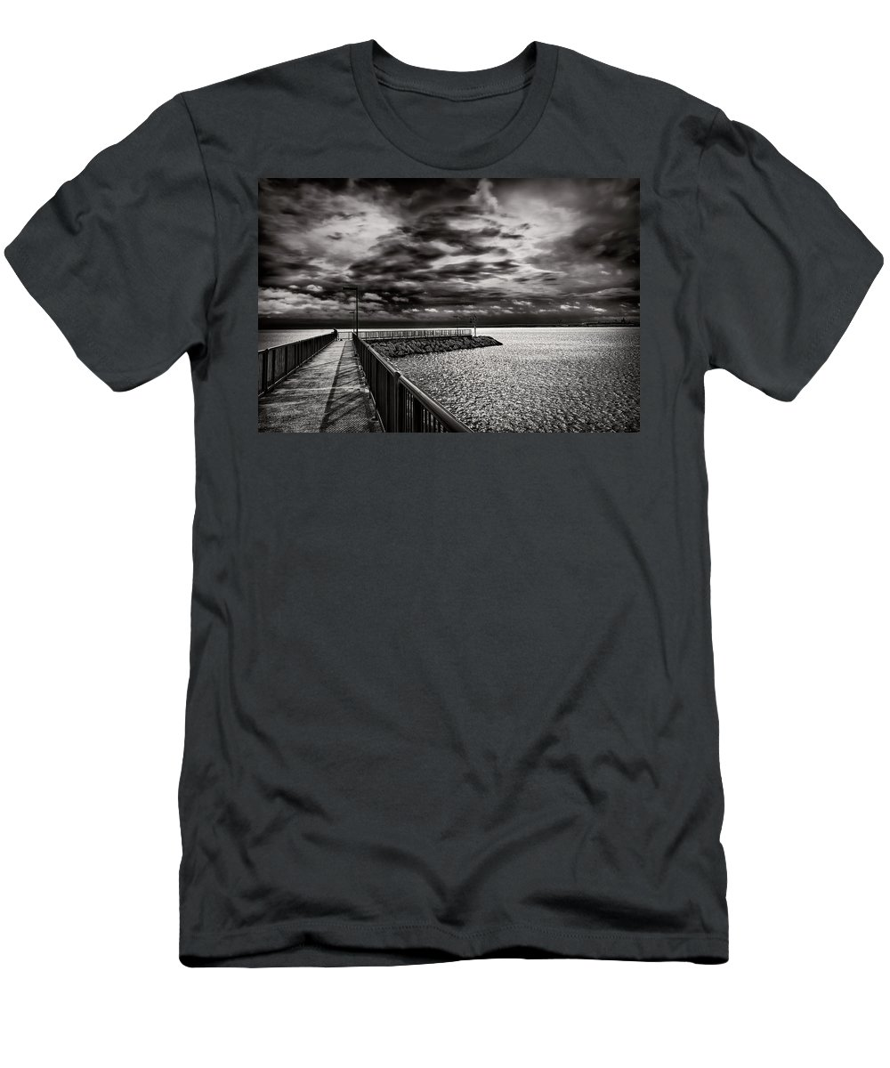 Nautical Men's T-Shirt (Athletic Fit) featuring the photograph Rogers City Marina Morning by Gregory Steele