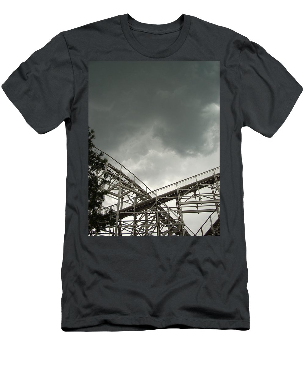 Amusement Men's T-Shirt (Athletic Fit) featuring the photograph Roller Coaster 3 by Sara Stevenson