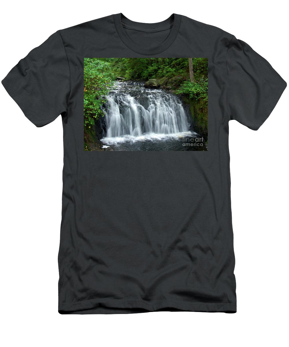 Waterfall Men's T-Shirt (Athletic Fit) featuring the photograph Rolley Lake Falls Dry Brushed by Sharon Talson