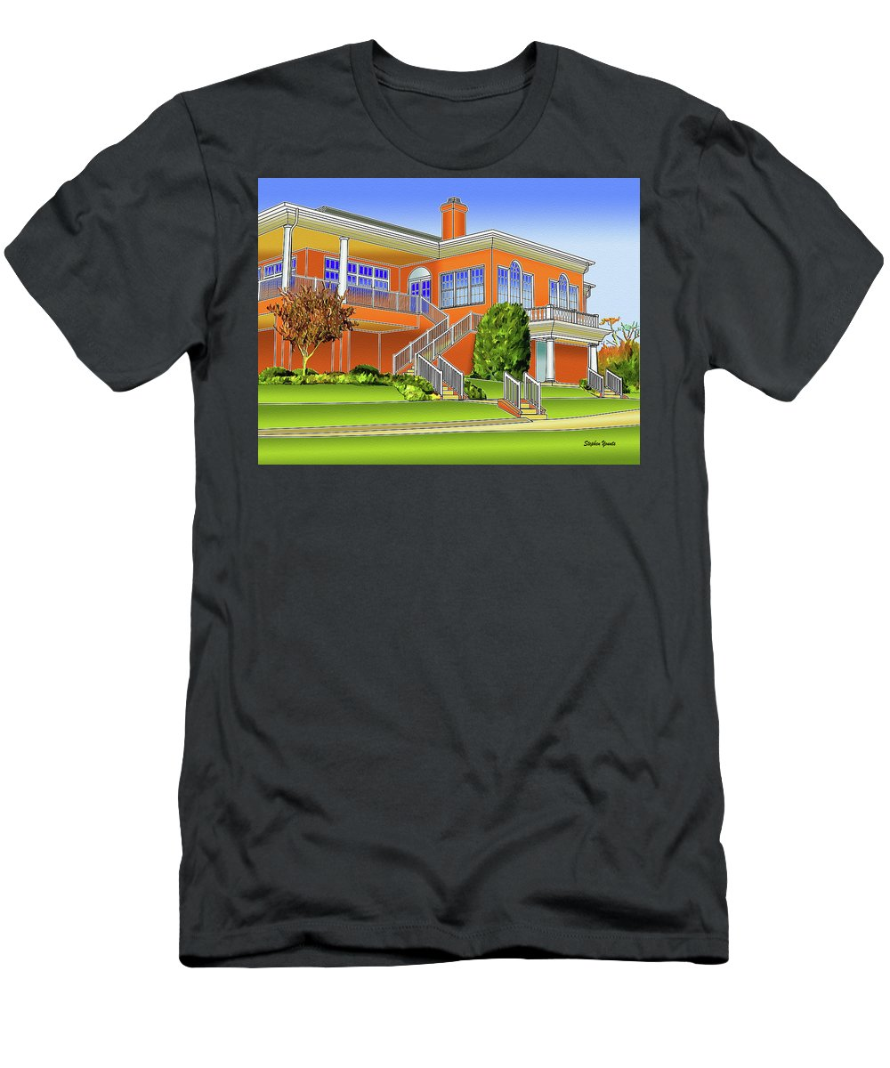 Catonsville Men's T-Shirt (Athletic Fit) featuring the digital art Rolling Road Golf Club by Stephen Younts