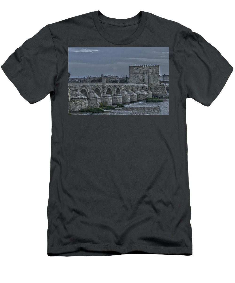 Ancient Men's T-Shirt (Athletic Fit) featuring the photograph Roman Bridge In Cordoba II by Peter Hayward Photographer