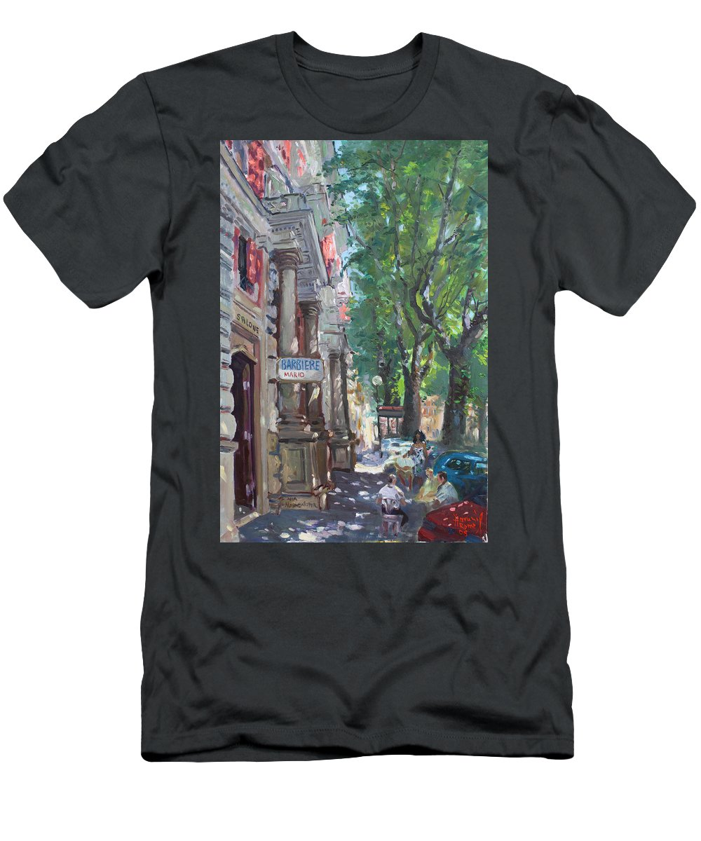 Rome At Barbiere Mario Men's T-Shirt (Athletic Fit) featuring the painting Rome A Small Talk By Barbiere Mario by Ylli Haruni