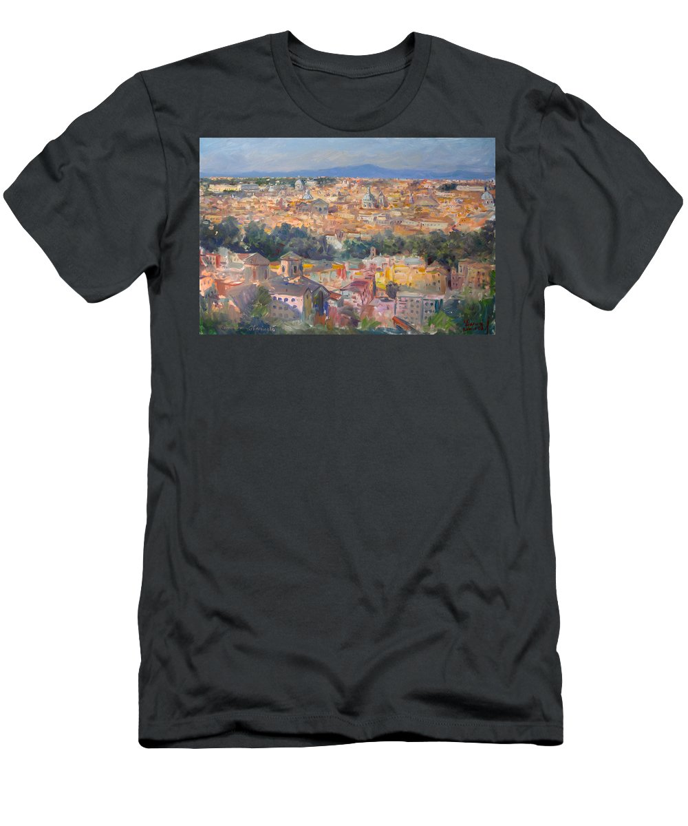 Rome Men's T-Shirt (Athletic Fit) featuring the painting Rome View From Gianicolo by Ylli Haruni