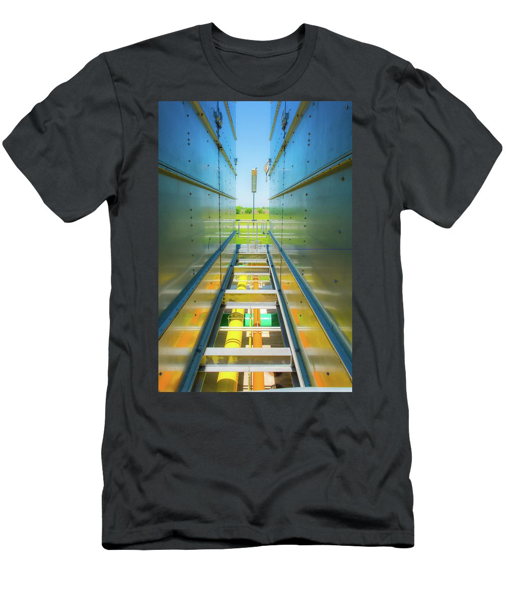 Industrial Men's T-Shirt (Athletic Fit) featuring the photograph Rooftop Piping by Pamela Williams