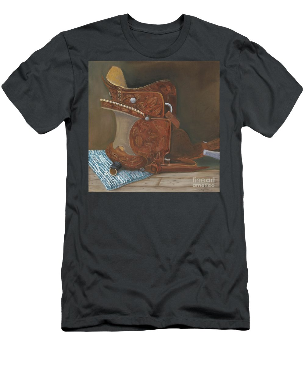 Saddle Men's T-Shirt (Athletic Fit) featuring the painting Roping Saddle by Mendy Pedersen