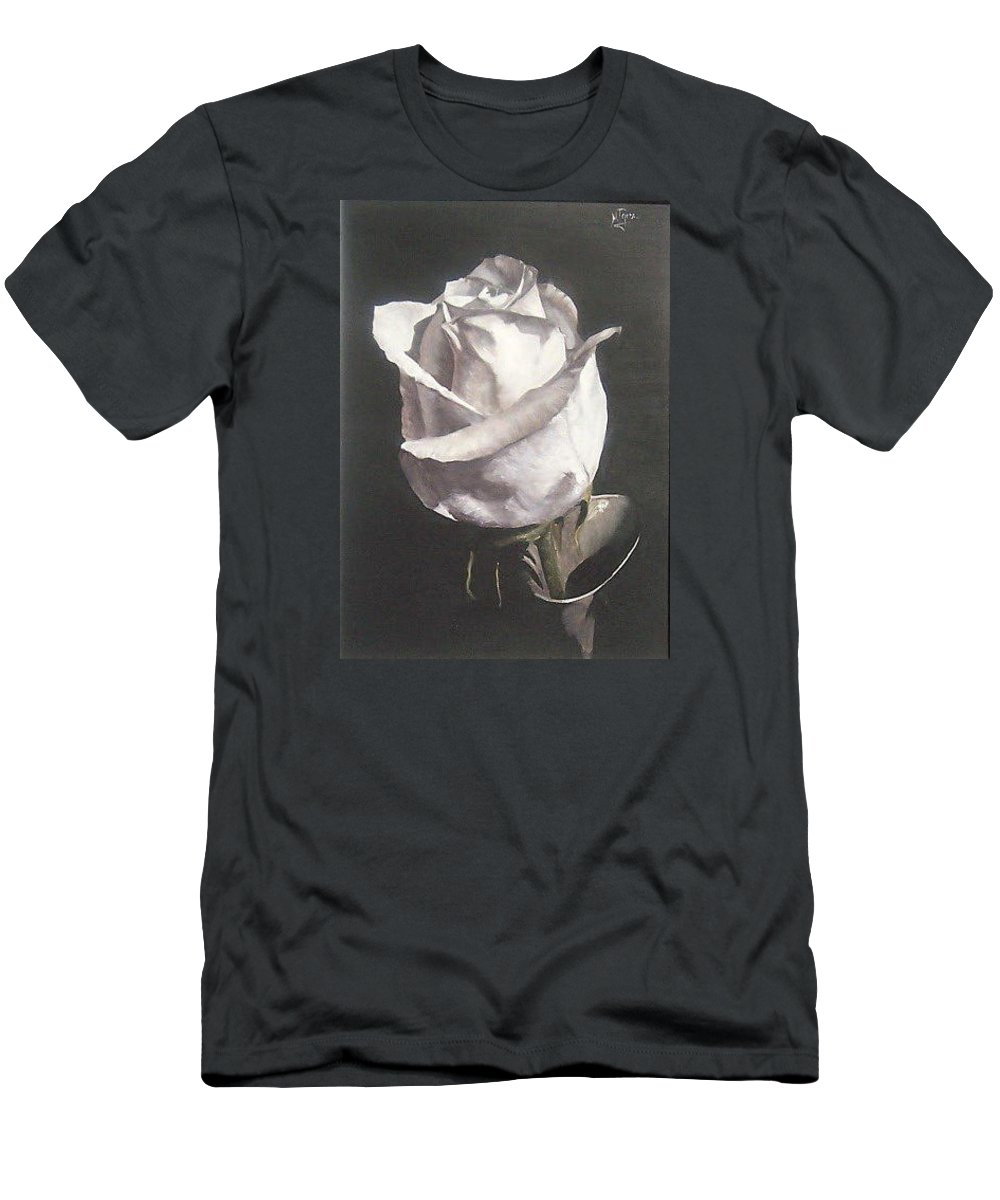 Rose Floral Nature White Flower Men's T-Shirt (Athletic Fit) featuring the painting Rose 2 by Natalia Tejera