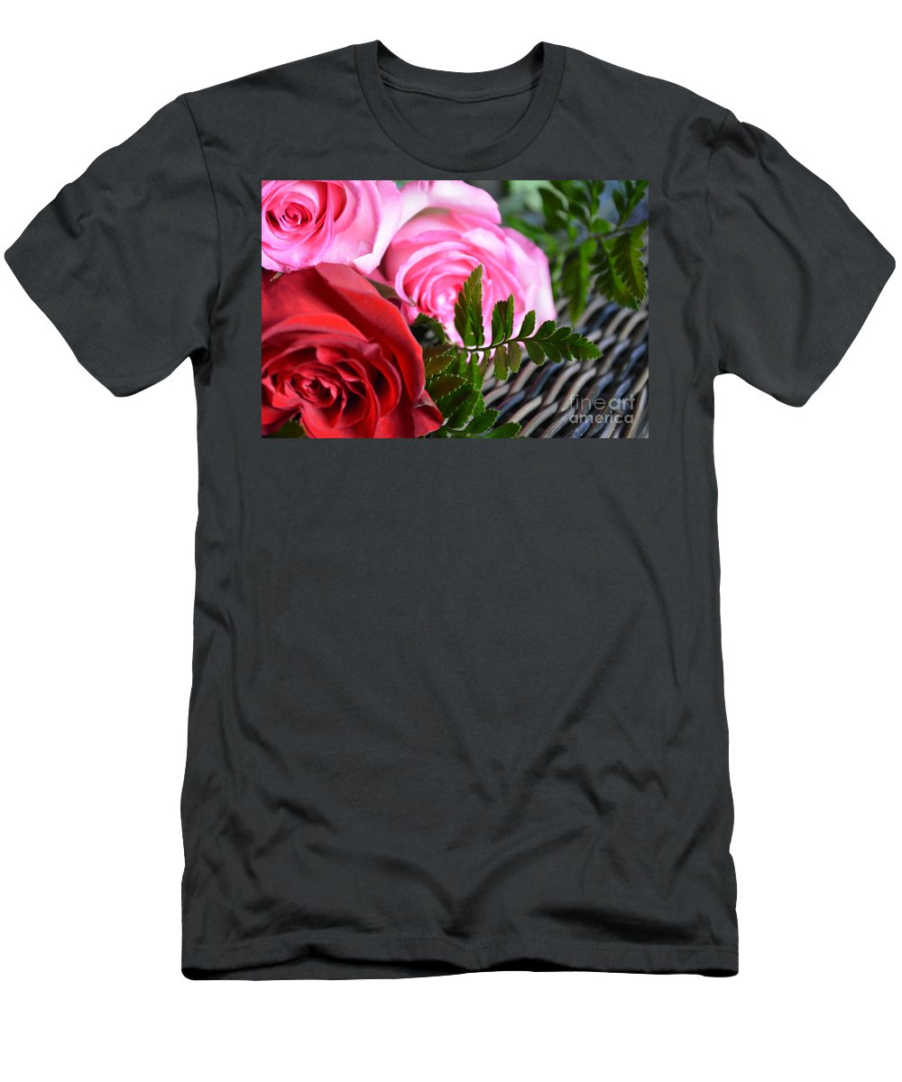 Pink-rose Men's T-Shirt (Athletic Fit) featuring the photograph Rose Boquet by Reva Steenbergen